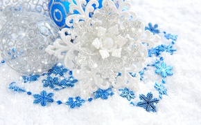 Picture blue, New Year, snowflake, Shine, Christmas, toys, decoration, New Year, Christmas, silver, patterns, balls, Christmas, …