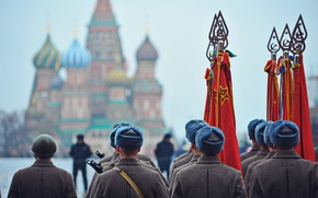 Picture holiday, victory day, soldiers, flags, red square, May 9