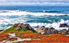 Picture sea, wave, the sky, landscape, nature, stones