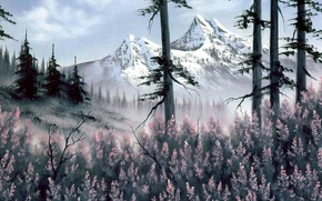 Picture forest, the sky, snow, trees, landscape, mountains, branches, picture, painting, the bushes, Bob Ross, mountain …