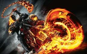 Wallpaper Ghost rider, ghost rider, motorcycle, fire, skull
