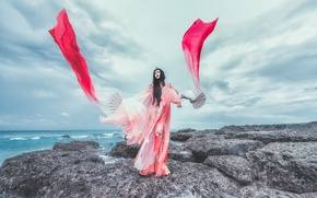 Picture sea, style, color, dress, fabric, Asian