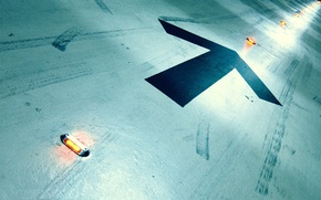 Wallpaper traces, lights, arrows, floor
