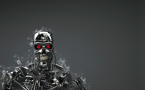 Picture robot, red eyes, Terminator, T-800, technology