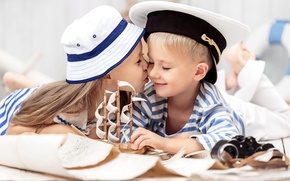 Picture children, kiss, hat, boy, friendship, girl, girl, boat, hat, kiss, boy, boat, children