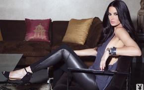 Picture sofa, interior, brunette, beautiful, Tiffany Taylor