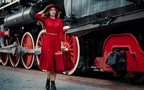 Picture girl, style, model, the engine, the situation, the platform, suitcase, hat, red dress, Alina Tours