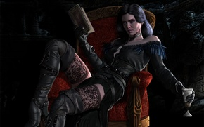 Picture girl, wine, chair, book, Witcher, The Witcher 3: Wild Hunt, Yennefer, cd Projekt red, Yennefer …