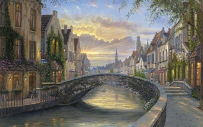Picture sunset, flowers, bridge, river, home, the evening, Belgium, painting, Robert Finale, Reflection Of Belgium, water …