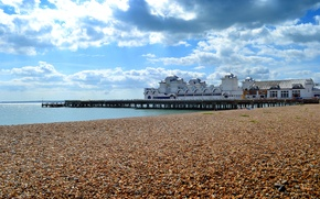 Picture sea, the sky, clouds, the building, England, pierce, the dome, Southsea