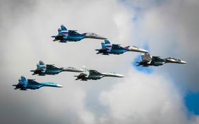 Wallpaper the sky, fighters, Su-27, Falcons Of Russia