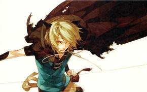 Picture the demon, white background, cloak, ears, yellow eyes, visual novel, Lamento, Bikes, torn, Kazuaki