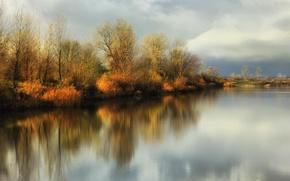 Picture autumn, reflection, river, Autumn sunshine