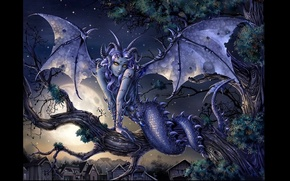 Picture night, wings, being, scales, tail, horns, The demon, the full moon, snake eyes, Chimera