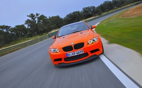 Picture Road, BMW, grille, Machine, BMW, Orange, GTS, The front, In Motion