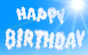 Picture the sky, the sun, clouds, rays, the inscription, blue, Happy Birthday, Birthday
