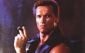 Wallpaper man, Arnold Schwarzenegger, Commando, actor, Commando, Arnold Schwarzenegger, John Matrix, cigar