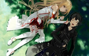 Picture grass, girl, stay, guy, sword art online, yuuki asuna
