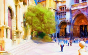 Picture the city, paint, home, area, Spain, Toledo