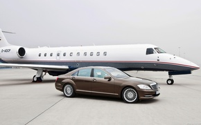 Picture car, machine, Mercedes, plane, S-class, car and plane