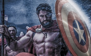 Picture star, soldier, rain, war, army, crossover, Gerard Butler, 300, Captain America, shield, The Avengers, Chris ...