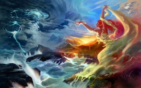Picture sea, girl, mountains, lightning, seagulls, storm, art, the gods, battle, jian guo
