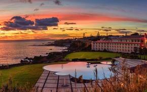 Picture sea, sunset, lawn, coast, pool, horizon, the hotel, Portugal, Terceira Island