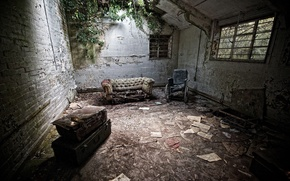 Picture sofa, chair, ruins, observance
