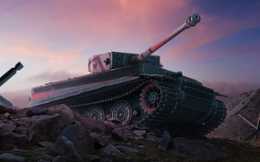 Picture Sunset, The sky, Clouds, Tiger, Stones, Camouflage, World of Tanks, PzKpfw VI Tiger, World Of …