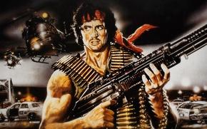 Picture action, drama, Sylvester Stallone, Rambo, M60 machine gun, First blood, John Rambo