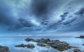 Picture sea, beach, the sky, clouds, stones, blue, the evening, Sweden
