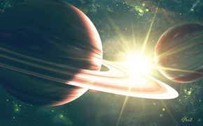 Picture space, stars, star, planet, ring, art, bright, QAuZ
