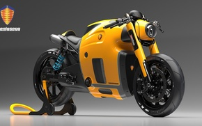 Picture Concept, Koenigsegg, Yellow, Bike, Wheels, Brake