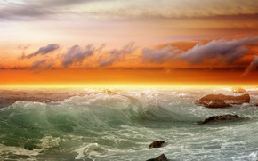 Picture wave, stones, the ocean, shore