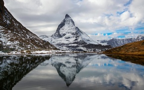 Picture autumn, the sky, clouds, reflection, Switzerland, Alps, Italy, mountain lake, October, the Matterhorn
