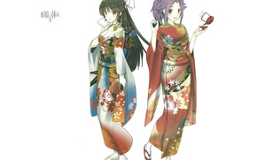 Picture pattern, white background, kimono, friend, Kantai Collection, Naval Collection, Jun`you, Hiyou, two girls