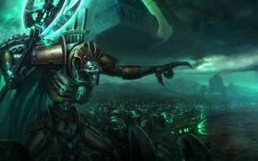 Picture weapons, darkness, war, Warhammer, Necrons, Necron, monolith, 40k, Lord Necron
