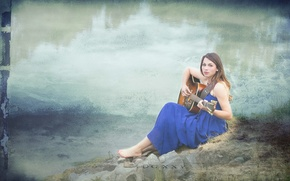 Picture girl, music, background, guitar