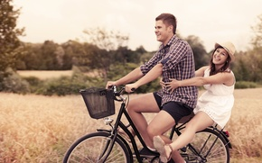 Picture leaves, girl, joy, nature, bike, smile, background, widescreen, Wallpaper, mood, foliage, sport, woman, laughter, plants, …