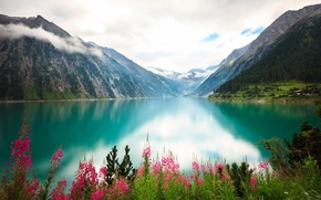 Picture clouds, flowers, mountains, lake, river, shore