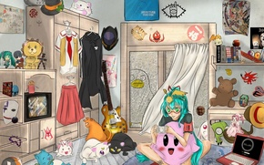 Picture girl, guitar, anime, art, laptop, vocaloid, hatsune miku, happy, death note, naruto, soul eater, bleach, …