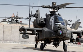 Picture McDonnell Douglas AH-64 Apache, combat helicopter, Parking, missiles