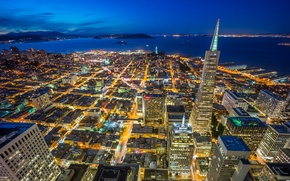 Wallpaper business center, skyscrapers, San Francisco, California, lighting, Bay, the city, lights, night, building, home, blue, ...