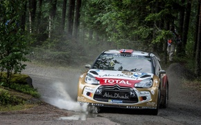 Picture grass, trees, squirt, turn, skid, puddle, gravel, wrc, citroen, Citroen, ds3, DS3, mads ostberg