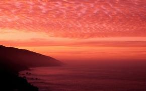 Wallpaper Sea, the sky, horizon, clouds, sunset