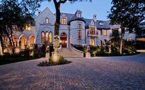 Picture lights, castle, Villa, the evening