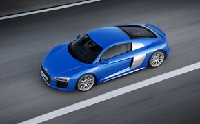 Picture road, asphalt, Audi, markup, blue, V10, the view from the top, 2015