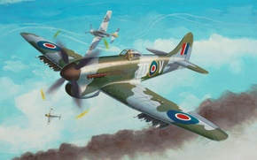 Picture war, art, airplane, painting, aviation, ww2, Hawker Tempest Mk.V