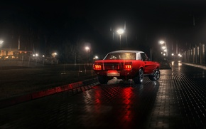 Picture white, red, reflection, rain, lamp, Mustang, Ford, back, Parking, 1967, rear, lampposts