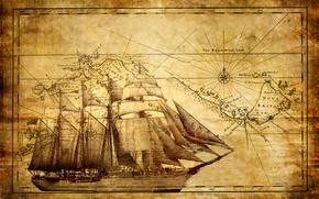Picture ship, map, sailboat, frigate